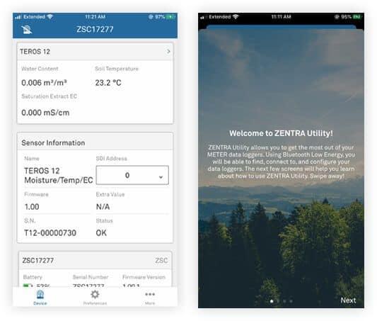 lecturas sensores en zentra utility mobile opt
